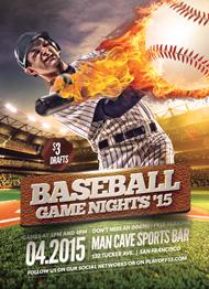 Design Cloud: Baseball Game Nights Flyer Template