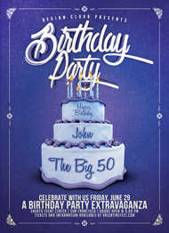 Design Cloud: Birthday Party Cake Flyer Template