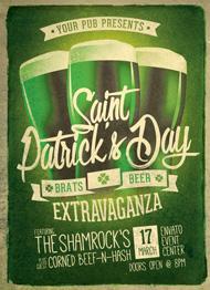 Design Cloud: Retro St. Patricks Day Party Flyer Template