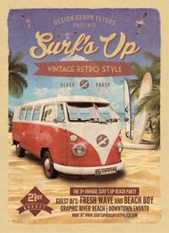 Design Cloud: Surfs Up Retro Beach Party Flyer Template